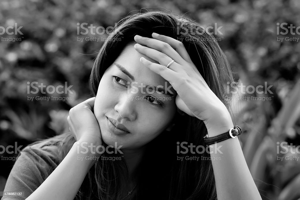 Portrait of stressed asia woman stock photo