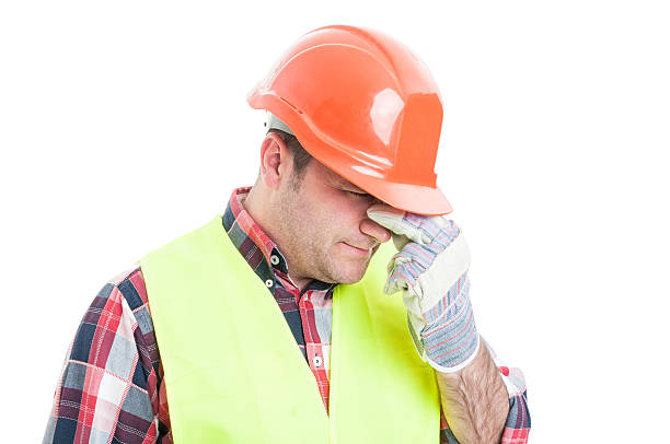 Portrait of stressed male builder looking upset – Foto