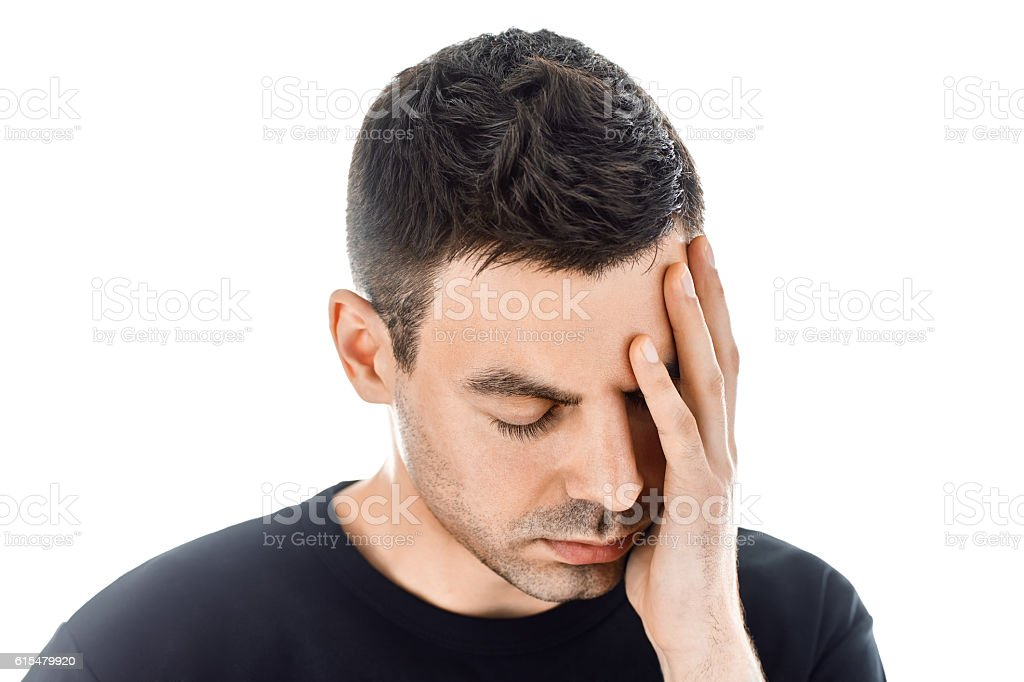 Portrait of stressed man having headache isolated on white backg – Foto
