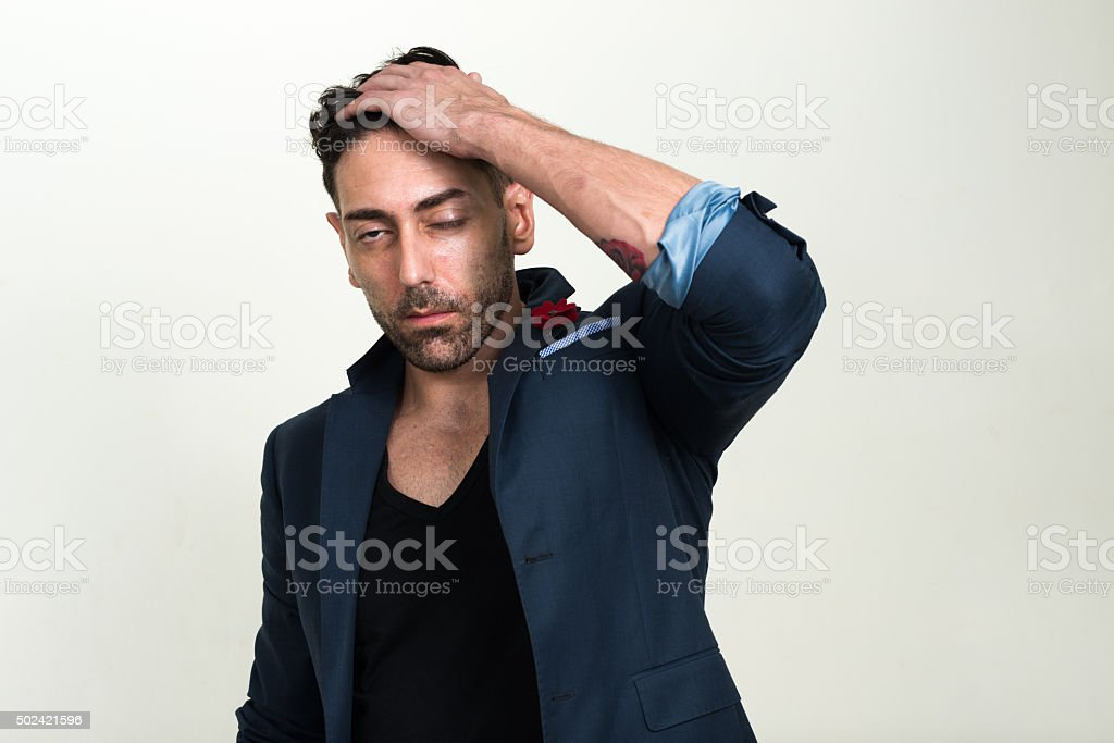 Portrait of stressed man stock photo