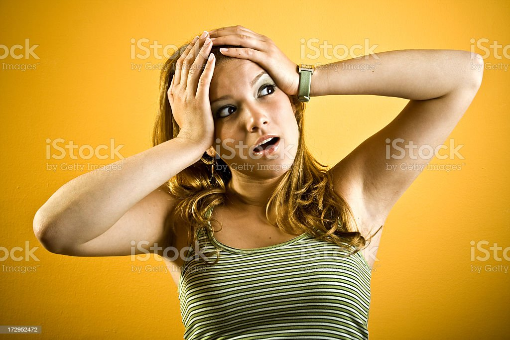 Portrait of stressed woman stock photo