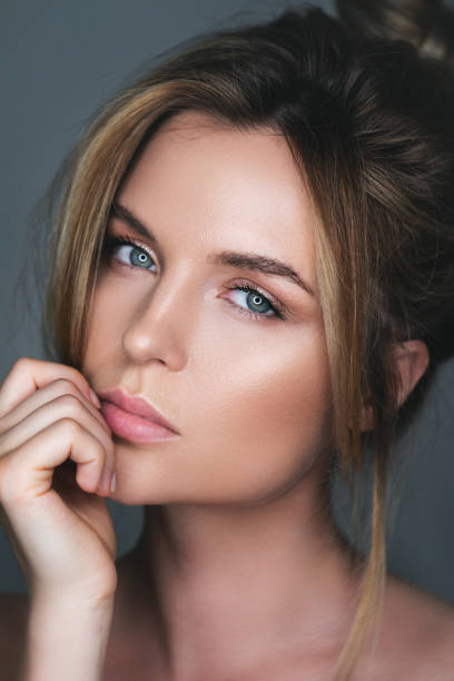 Portrait of stunning woman with natural makeup stock photo