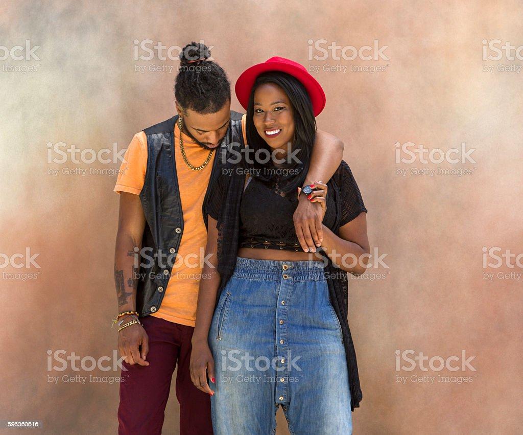 Portrait of Stylish Black Couple royalty-free stock photo