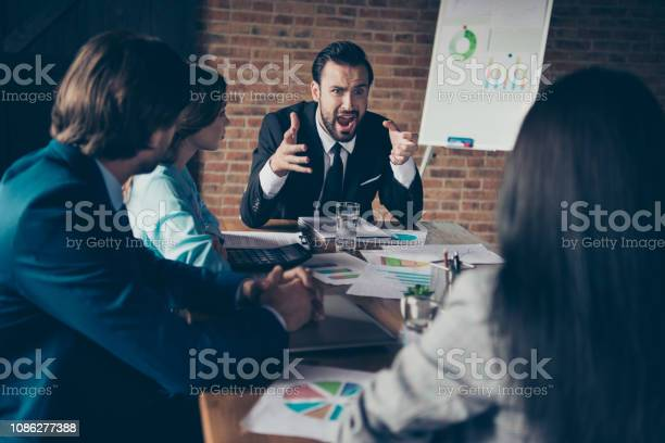 Portrait Of Stylish Elegant Classy Angry Chairman Company Founde Stock Photo - Download Image Now