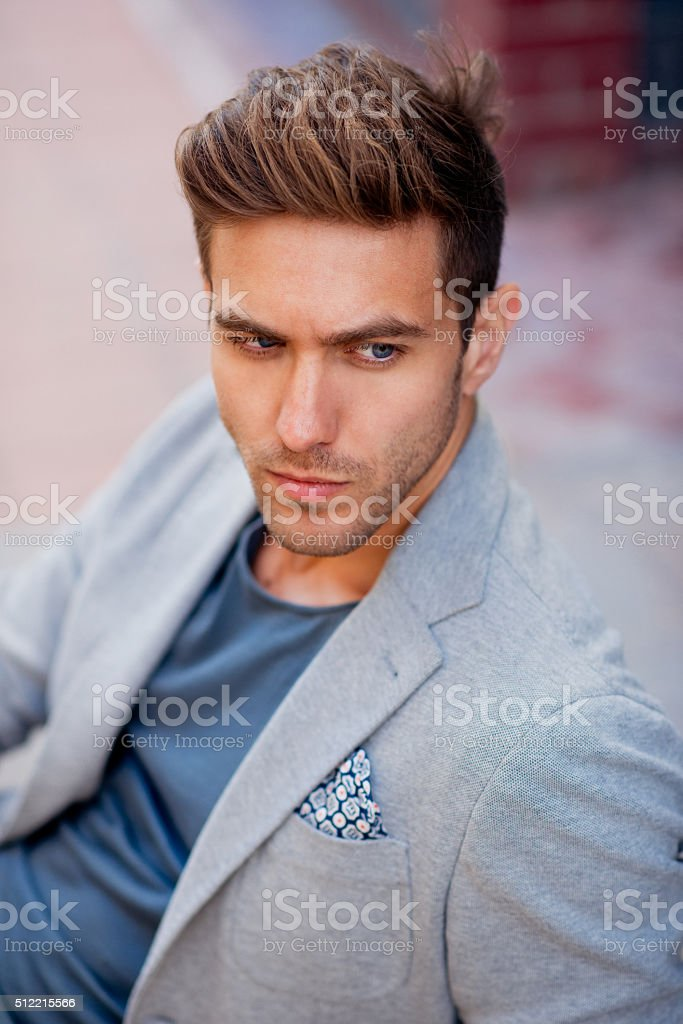 Portrait of stylish handsome young man stock photo