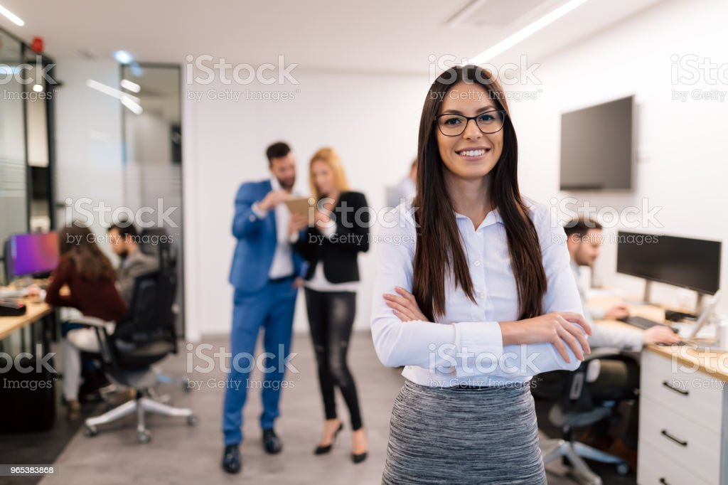 Portrait of successful beautiful businesswoman in office royalty-free stock photo