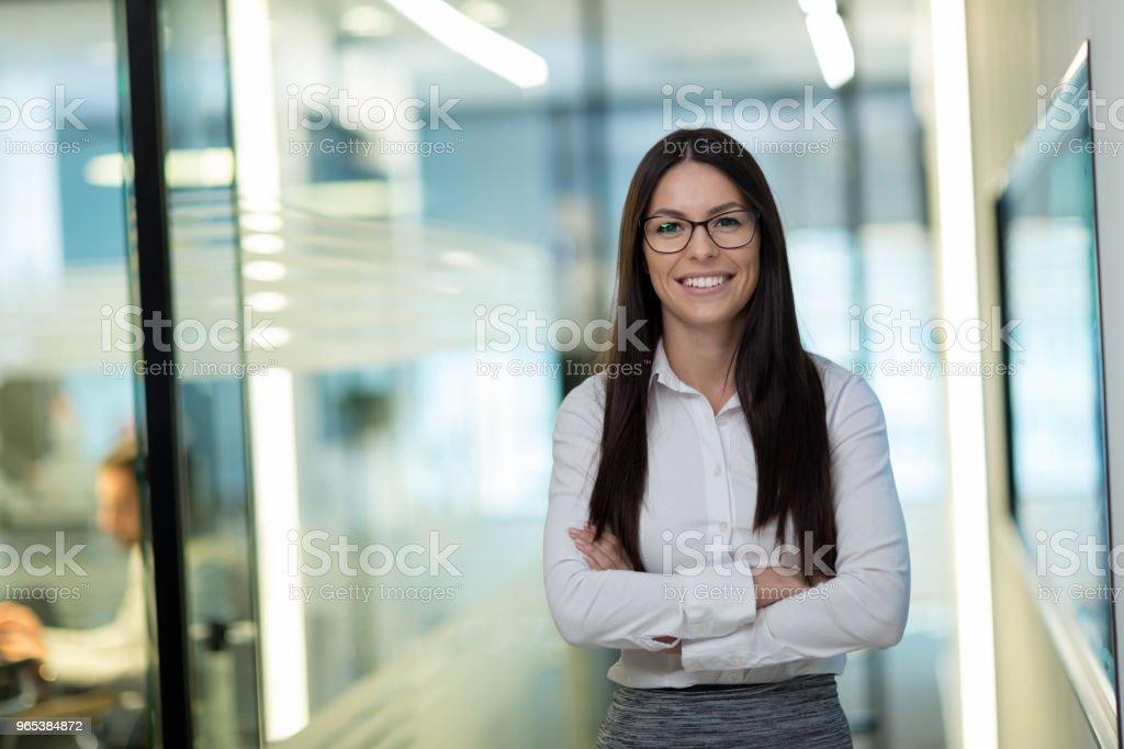 Portrait of successful beautiful businesswoman in office zbiór zdjęć royalty-free