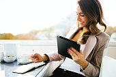 istock Portrait Of Successful Businesswoman Working  At Cafè 496854380