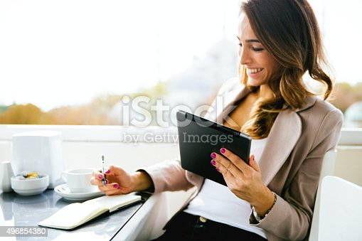 Portrait of successful businnesswoman working at cafè.