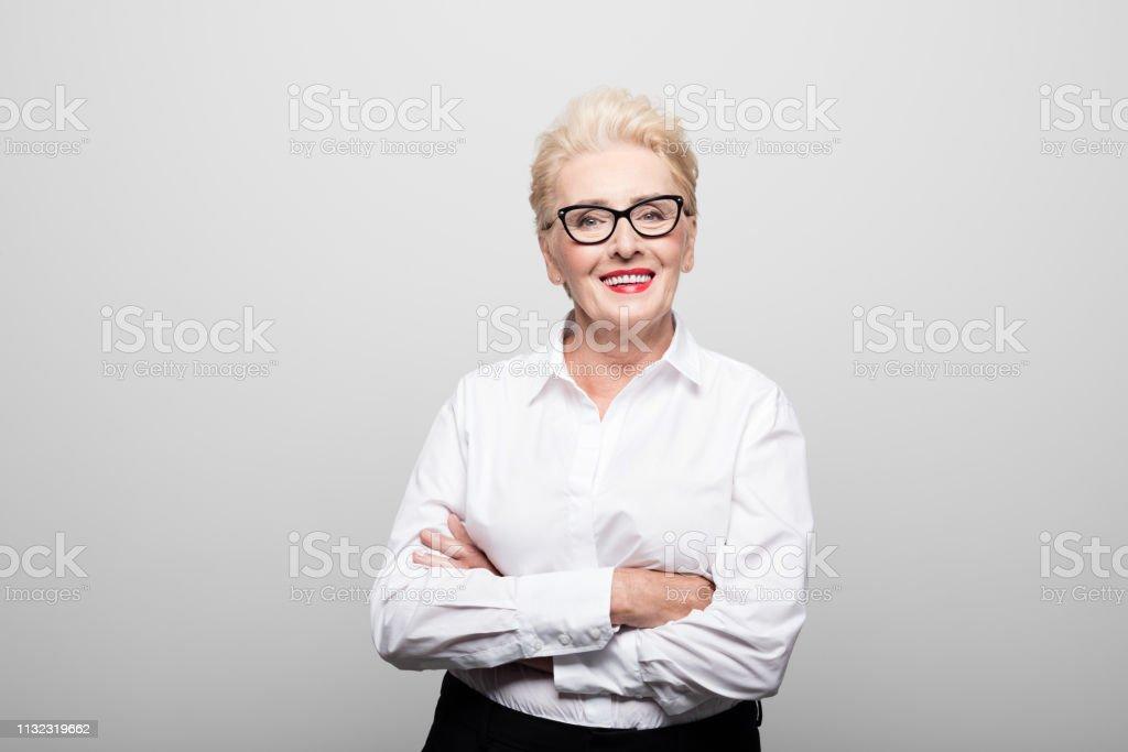 Porträt erfolgreicher Senioren-Unternehmer lächelnd - Lizenzfrei 70-79 Jahre Stock-Foto