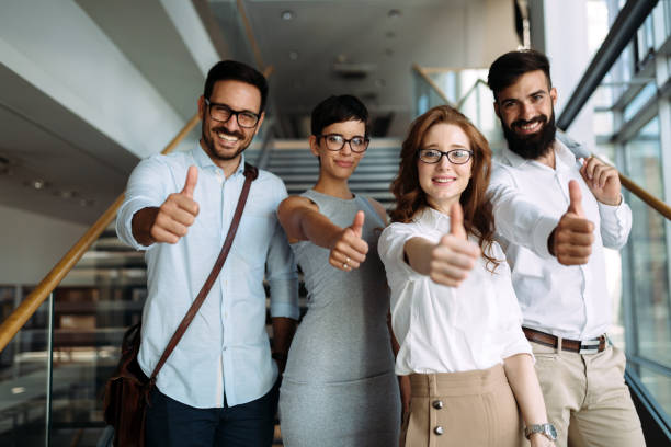 Portrait of successful young team of businesspeople stock photo