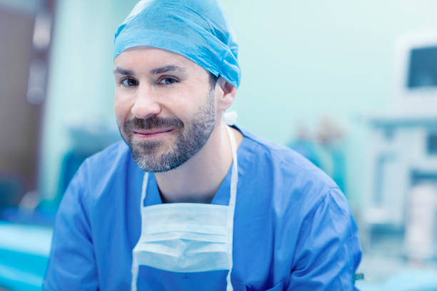 Portrait of surgeon in operating room in hospital stock photo