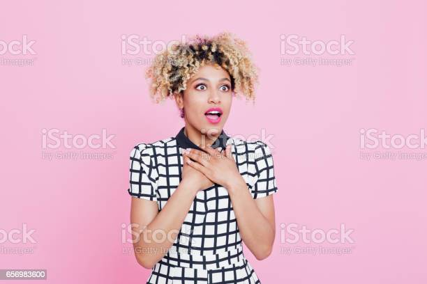 Portrait Of Surprised Afro American Young Woman Stock Photo - Download Image Now