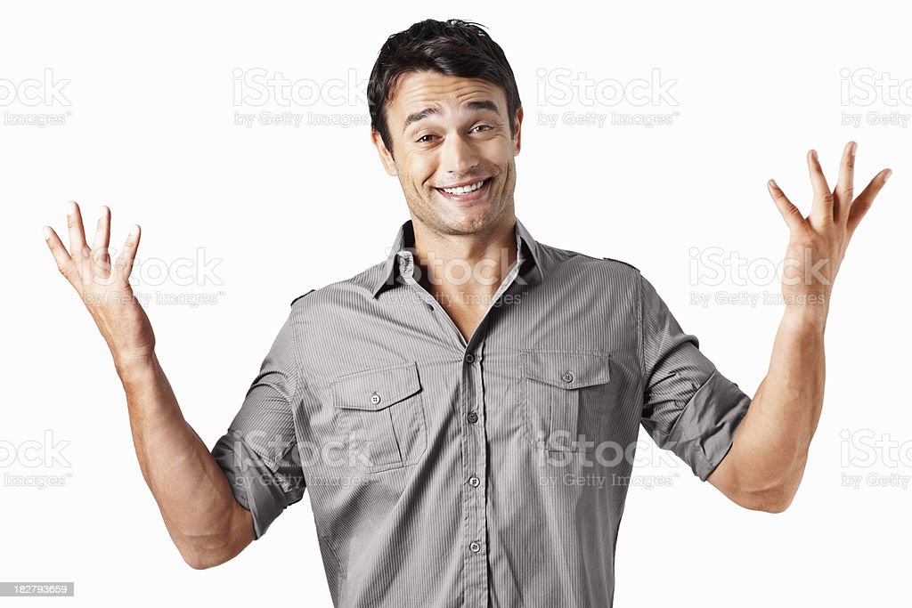 Portrait of surprised man making a do not know sign royalty-free stock photo