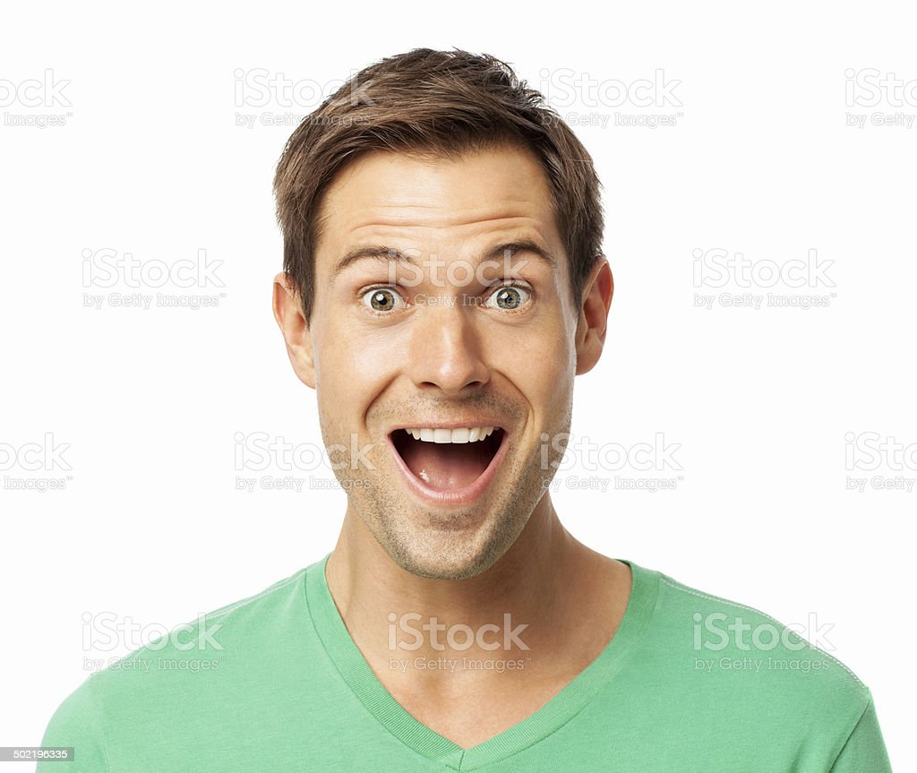 Portrait Of Surprised Young Man stock photo