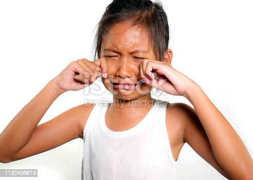 portrait of sweet and cute female child 8 or 9 years old crying sad in pain feeling unhappy and upset isolated on white background in bullying victim kid concept