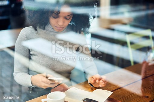 istock Portrait of talented afro American editor of popular magazine starting working day monitoring morning news on websites choosing main theme for front page using smartphone and wireless connection 905464198