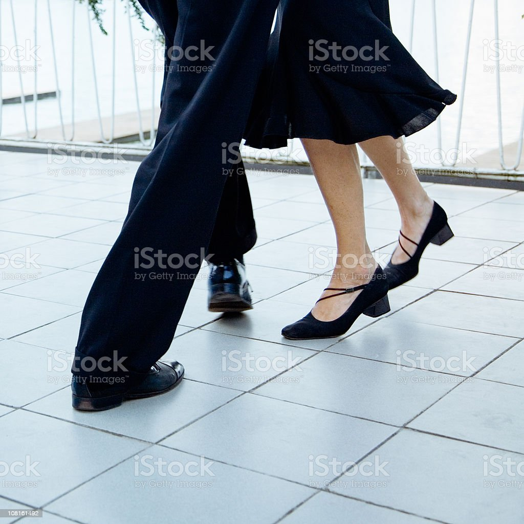 Portrait of Tango Dancing Couple's Feet royalty-free stock photo