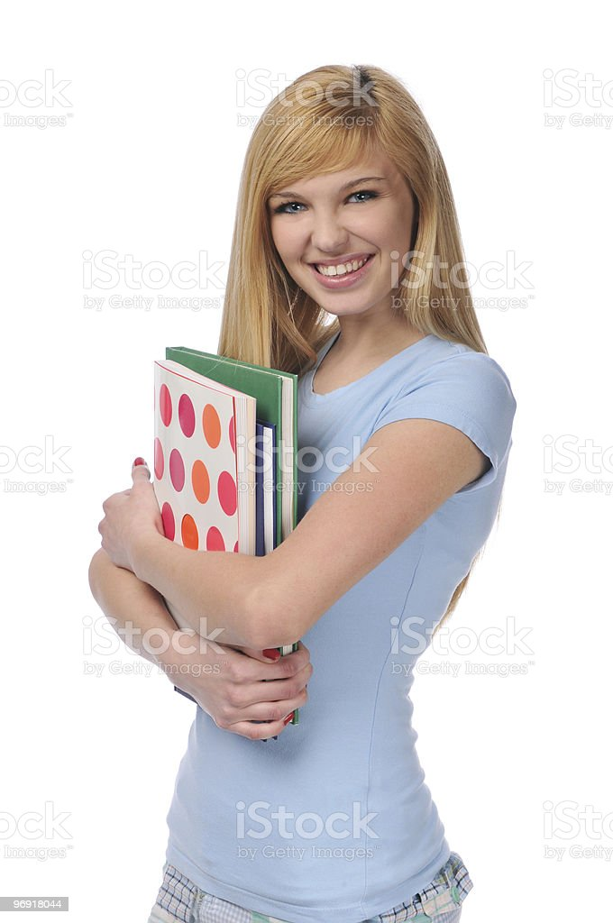 Portrait of teen holding books royalty-free stock photo