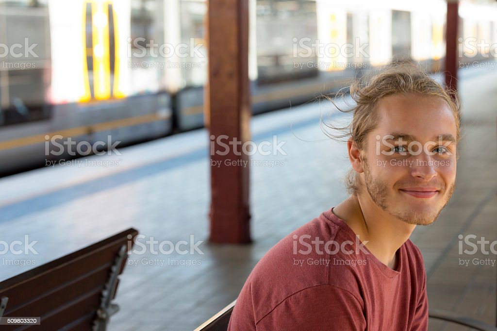 Portrait of teenage boy looking at camera, copy space stock photo
