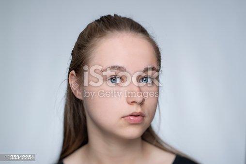 Portrait of a young girl  in studio against a grey backdrop, tilt shift lens
