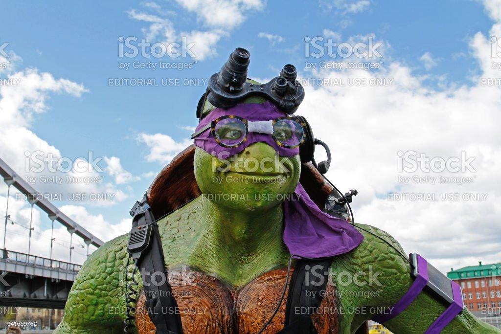 Portrait of teenage mutant ninja turtle Donatello figure in the park Muzeon in Moscow stock photo
