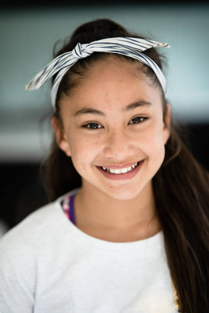 Portrait of teenager Pacific Island girl. stock photo