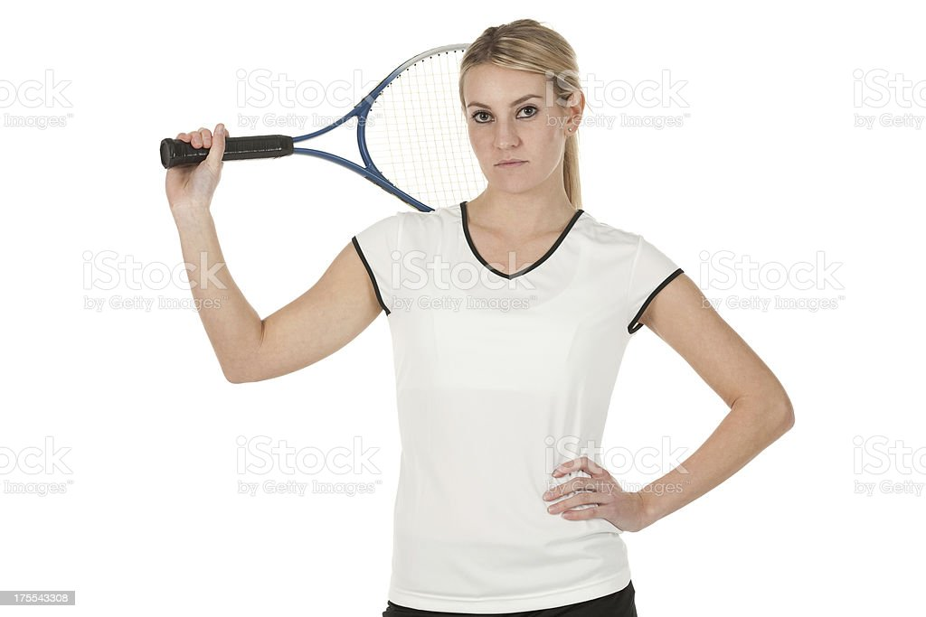 Portrait of tennis player with a racket royalty-free stock photo
