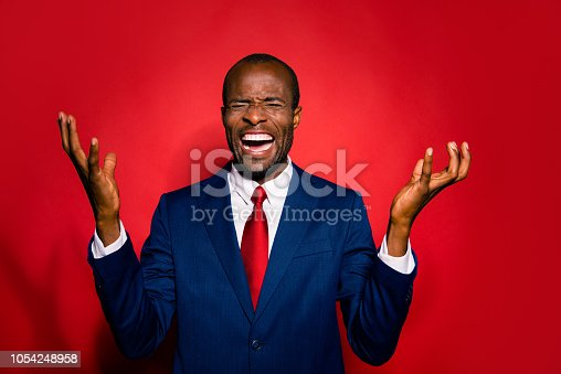 istock Portrait of tense chic classy confident analyst sale manager man in tie trendy tux tuxedo formalwear close eyes isolated on red vivid background hold hands palms up make evil grimace face 1054248958