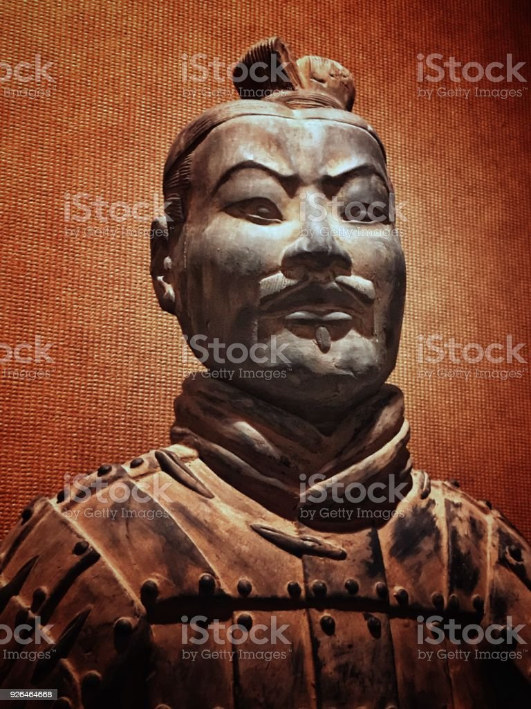 portrait of terra cotta foot soldiers stock photo