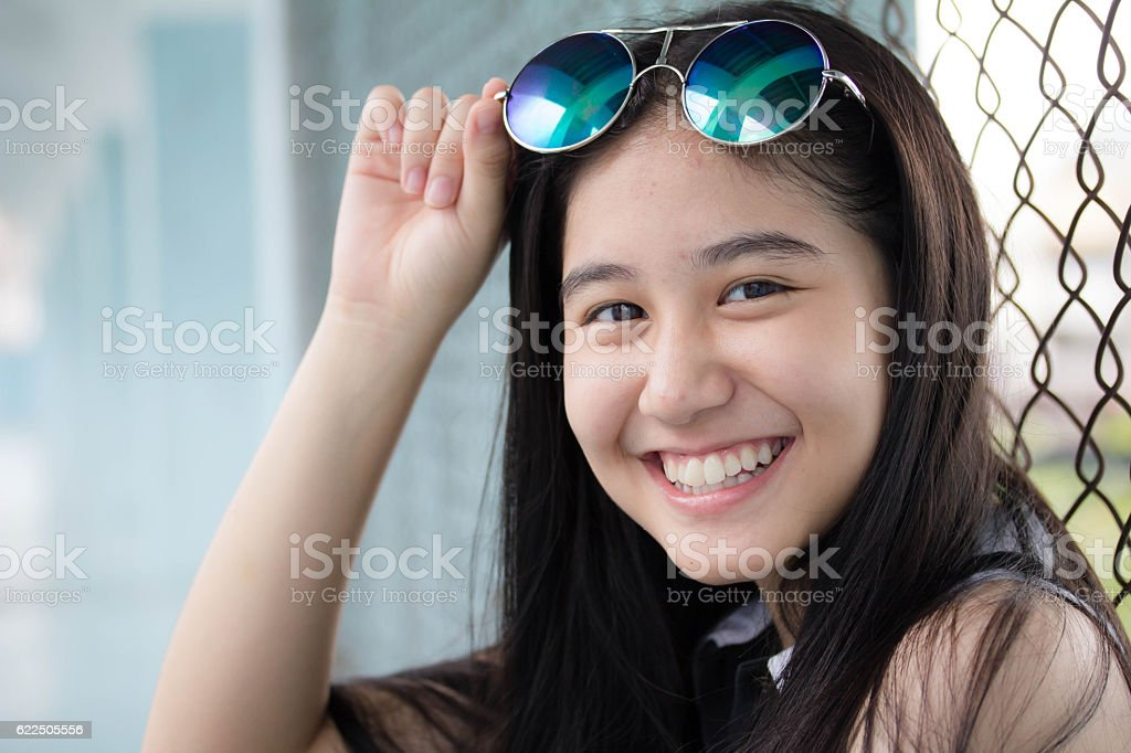 Portrait Of Thai Teen Glasses Beautiful Girl Relax And Smile Stock Photo  More -5028