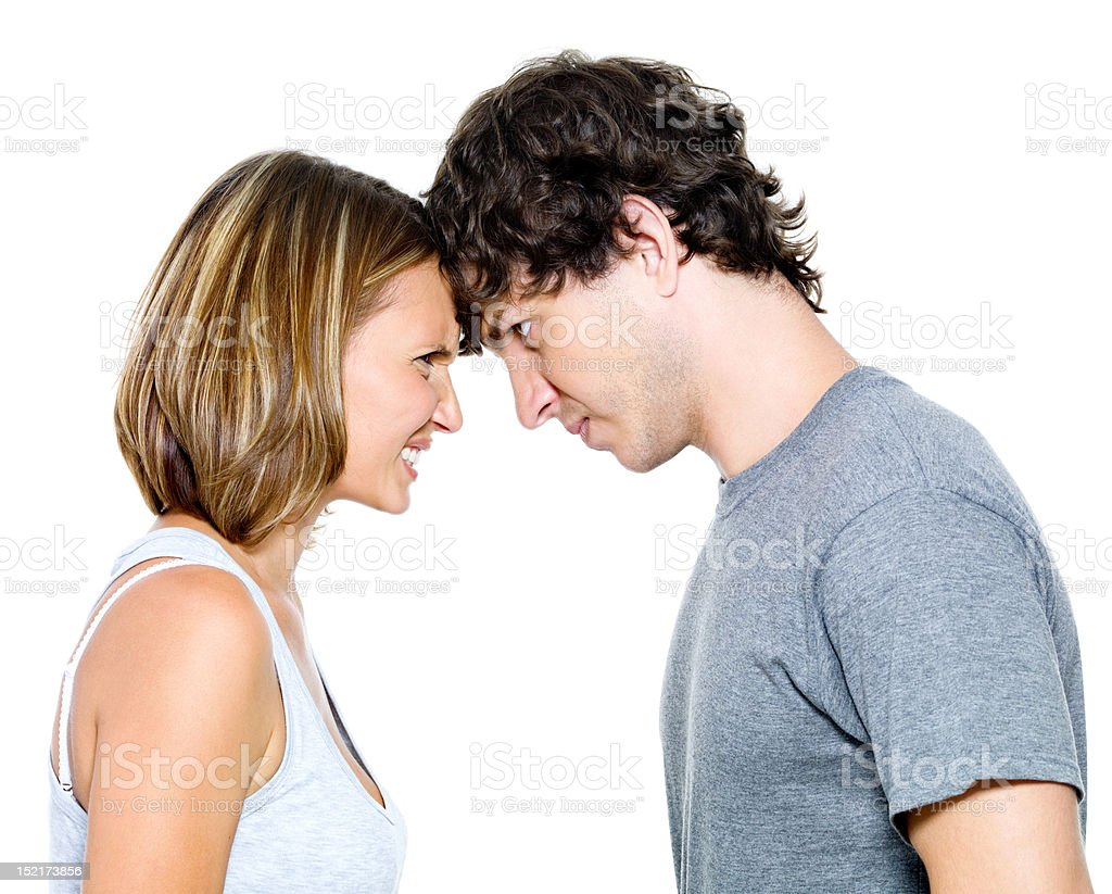 Portrait of the angry young couple royalty-free stock photo