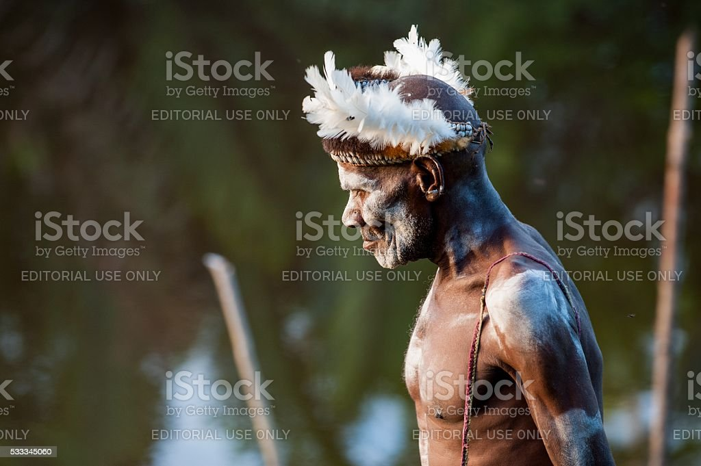 Portrait of the Asmat Warrior stock photo