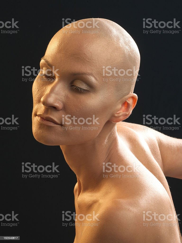 Portrait of the bald woman royalty-free stock photo