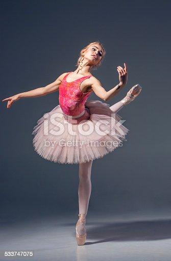 istock Portrait of the ballerina in ballet pose 533747075