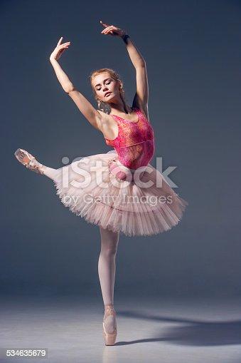 istock Portrait of the ballerina in ballet pose 534635679