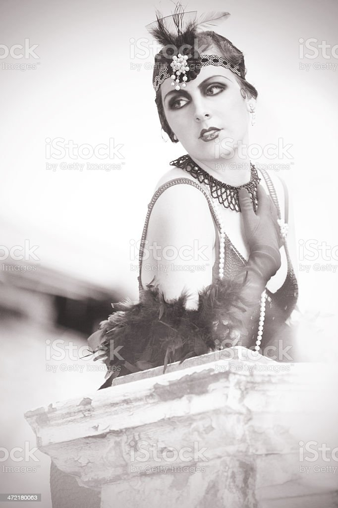 Portrait of The Beautiful Retro Woman 1920s - 1930s stock photo