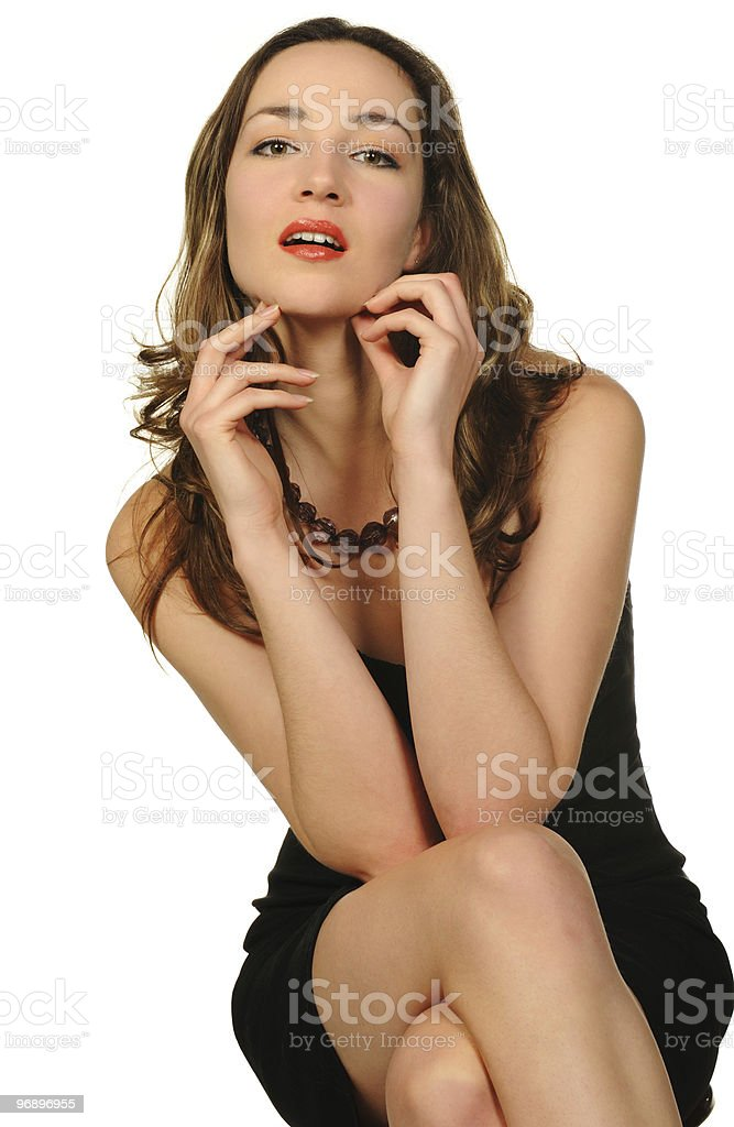 Portrait of the beautiful woman closeup royalty-free stock photo
