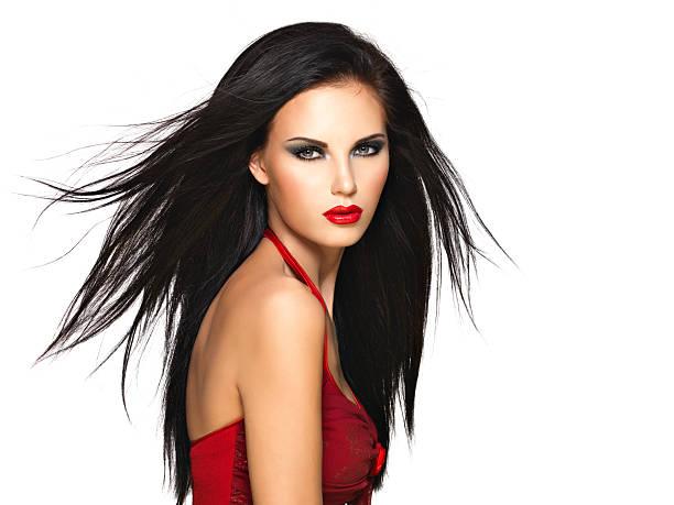 인물사진 이 아름다운 여인 머리카락이 블랙 및 레드 - 검정 머리 뉴스 사진 이미지