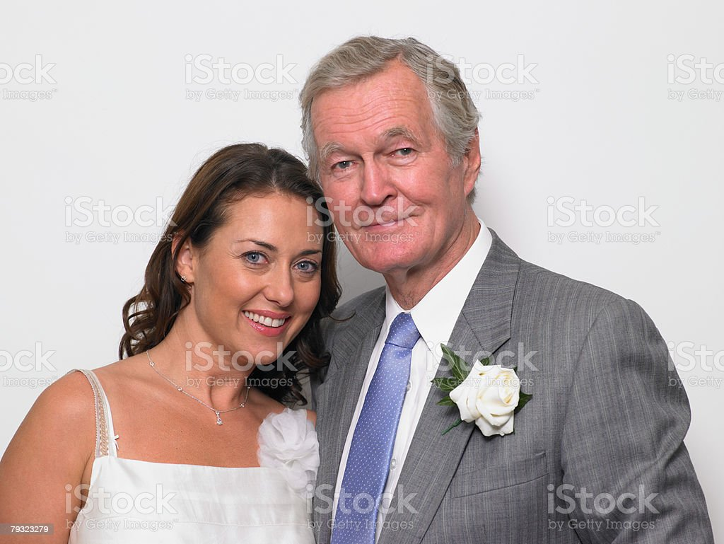 Portrait of the bride and her father stock photo