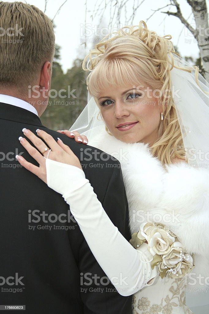 Portrait of the bride beside bridegroom royalty-free stock photo