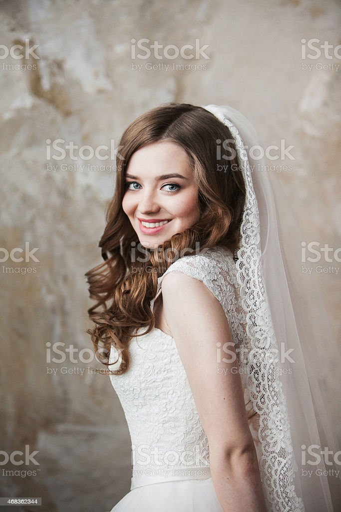 Portrait of the bride with big beautiful eyes royalty-free stock photo