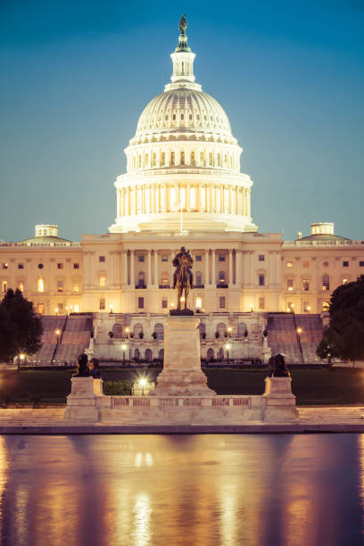 Portrait of the Capitol of the Unites States in evening light stock photo