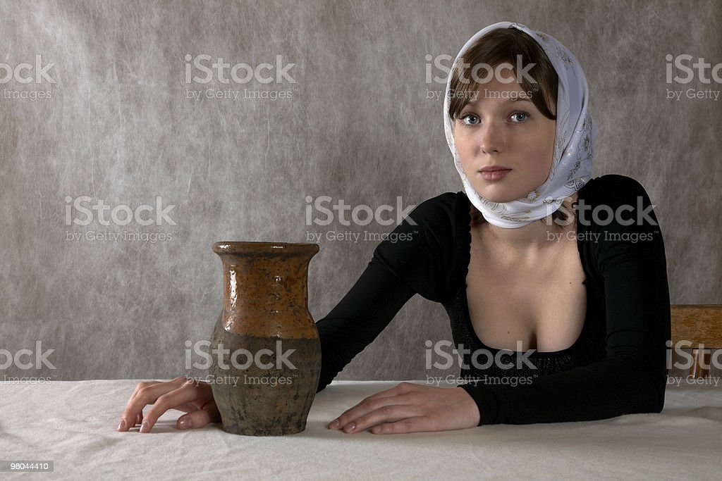 Portrait of the girl in a kerchief royalty-free stock photo
