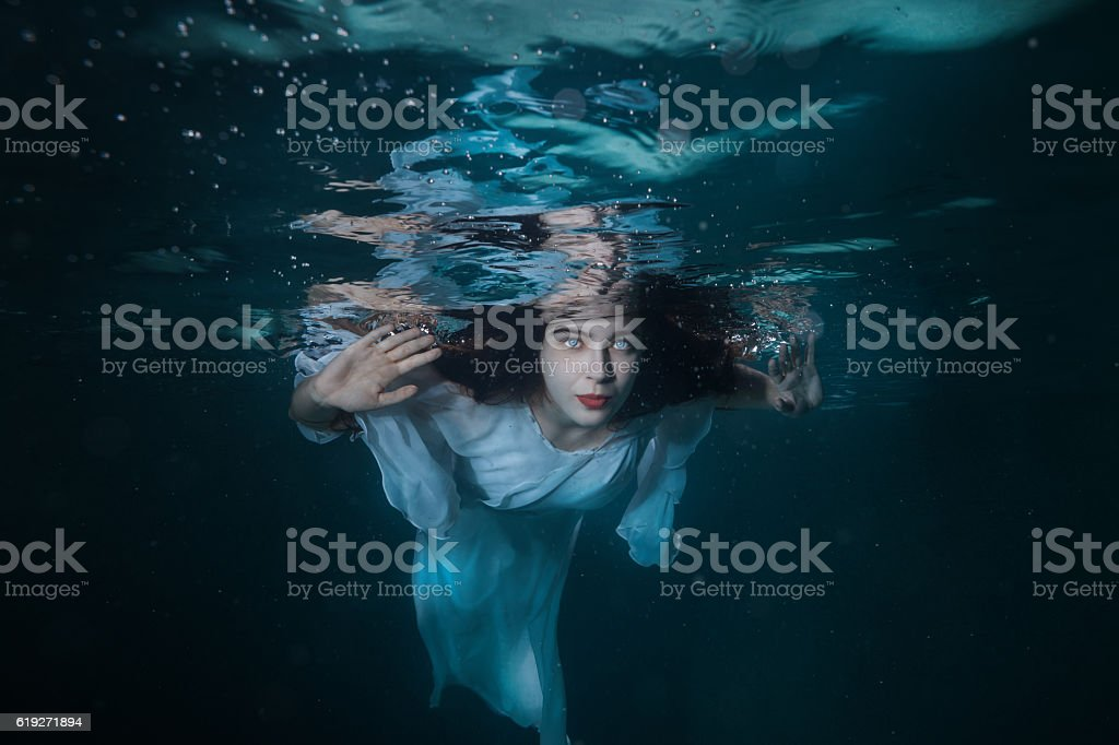 Portrait of the girl under water. stock photo