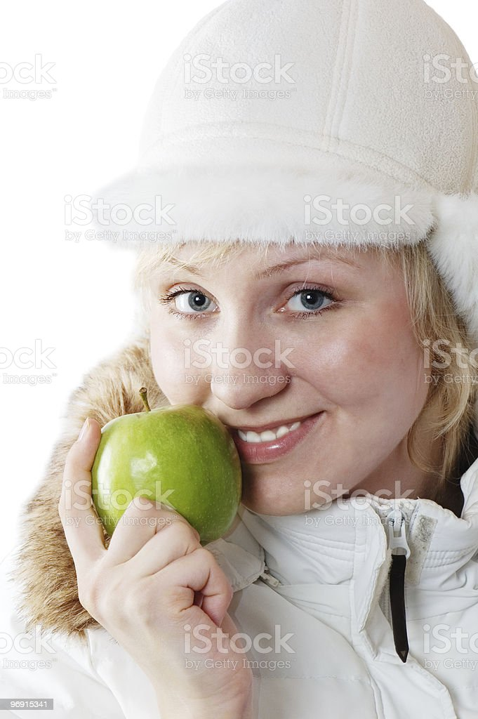Portrait of the girl with a green apple royalty-free stock photo