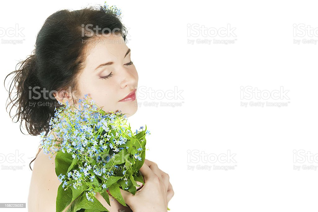 Portrait of the girl with forget-me-nots royalty-free stock photo