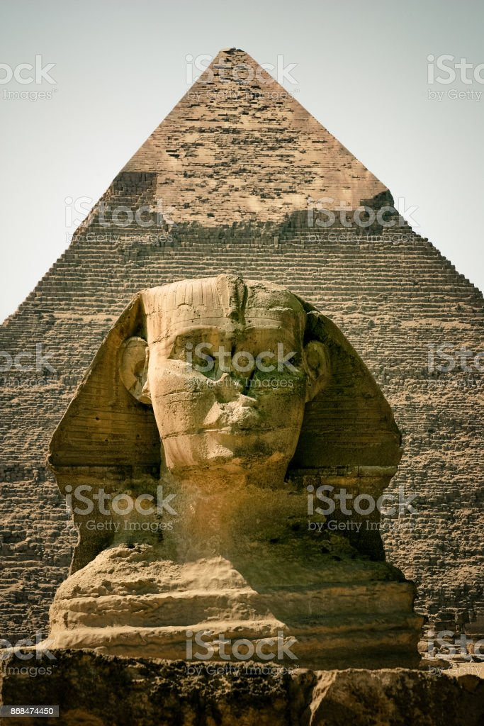 Portrait of the Giza sphinx and behind the pyramid of Chefren stock photo