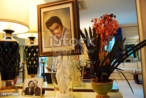 Memphis, TN, USA July 20, 2009 A portrait of Elvis Presley hangs in the Living Room of Graceland, Elvis Presley's former home, in Memphis Tennessee