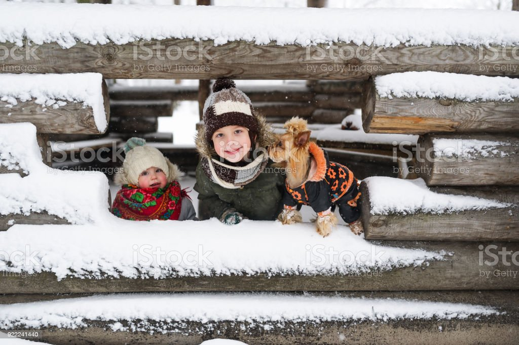 Portrait of the little kids and small dog against the background of the unfinished snow-covered house in the village stock photo